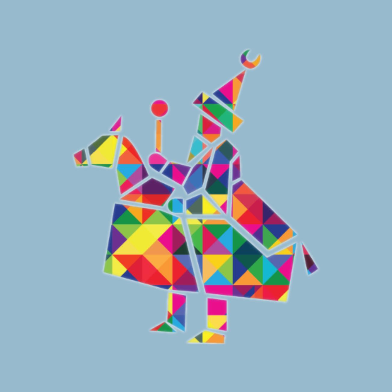 Logo Centrum Wielokulturowe w Krakowie - kolorowy lajkonik z geometrycznych figur na niebieskim tle