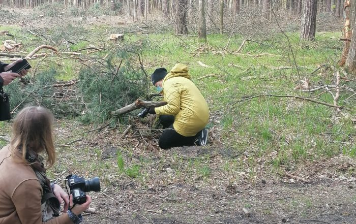 Plenerowe warsztaty fotograficzne Klub Seniora Platyna - zdjęcie pokazuje las i uczestników fotografujących gałęzie na leśnej polanie. Nad procesem czuwa instruktorka.
