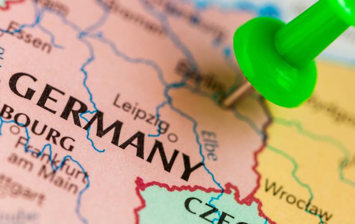 Mapa z zaznaczeniem pinezką Niemiec
